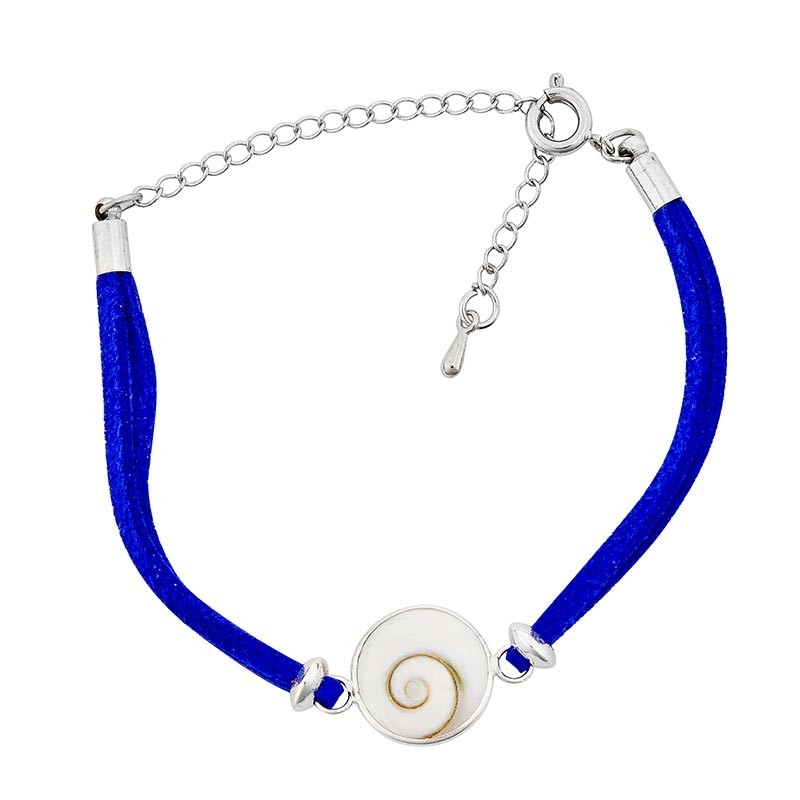 Bracelet fantaisie alcantara bleu
