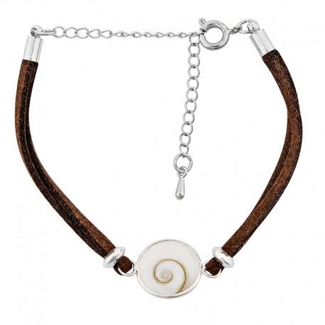 Bracelet fantaisie alcantara marron et oeil de sainte Lucie