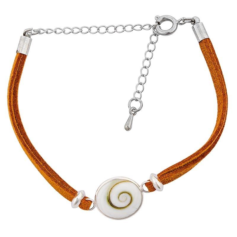 Bracelet fantaisie alcantara ocre et oeil de sainte Lucie
