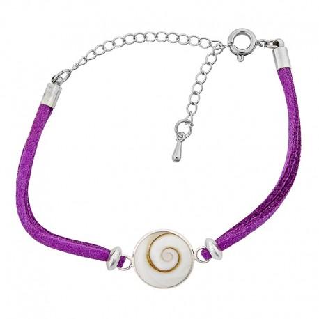 Bracelet oeil de sainte lucie alcantara violet et oeil de sainte lucie