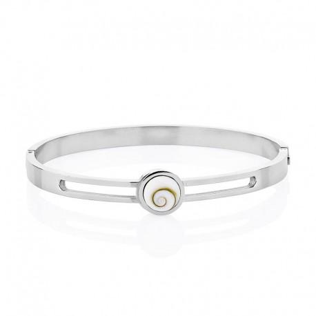 Bracelet rigide en acier avec oeil de sainte lucie mediterraneen