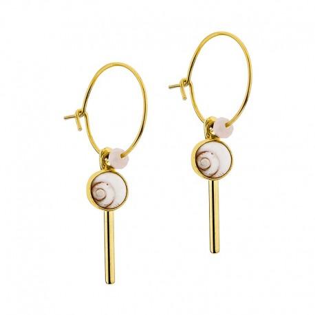 Boucles d'oreilles plaqué or avec deux yeux de sainte lucie
