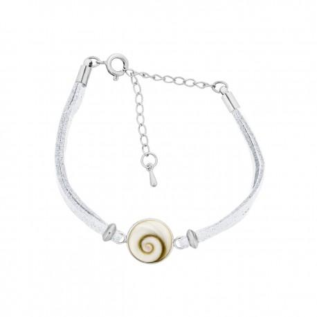 Bracelet fantaisie alcantara blanc et oeil de sainte Lucie