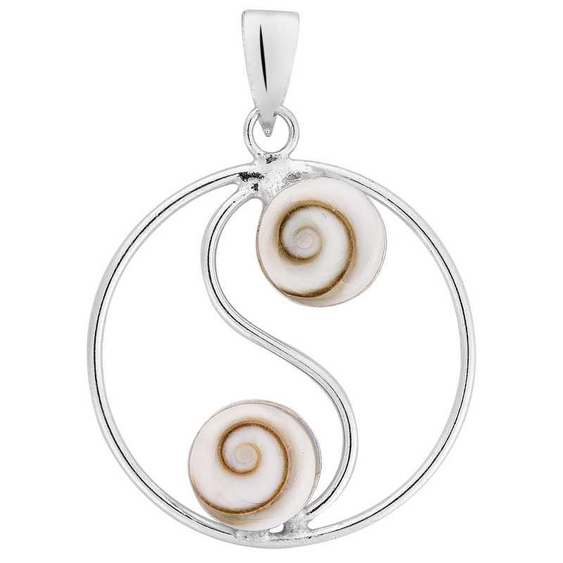 pendentif argent yin yang et oeil de sainte Lucie