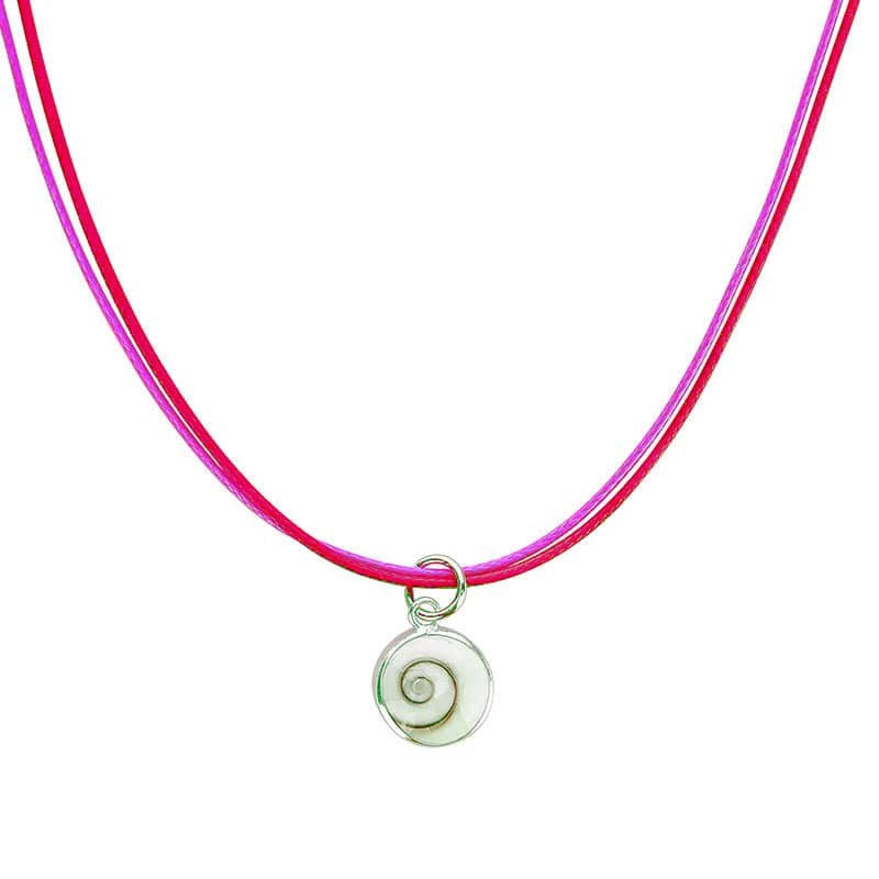 collier fantaisie rose avec oeil de sainte lucie